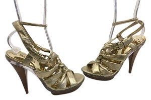 MICHAEL Michael Kors Stack Wood Heels Gold leather lining leather strappy knotted T strap ankle strap open toe Platforms