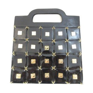 Other Patent Unique Grid Tote in Black & Gold