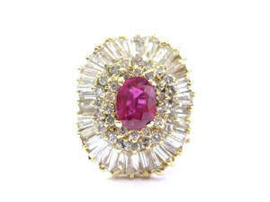 Other 14Kt Gem AAA Ruby Diamond Ballerina Yellow Gold Ring 3.24Ct