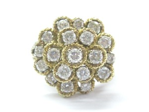 Other 18Kt Round Cut Diamond Cluster Circular Yellow Gold Jewelry Ring 2.28C