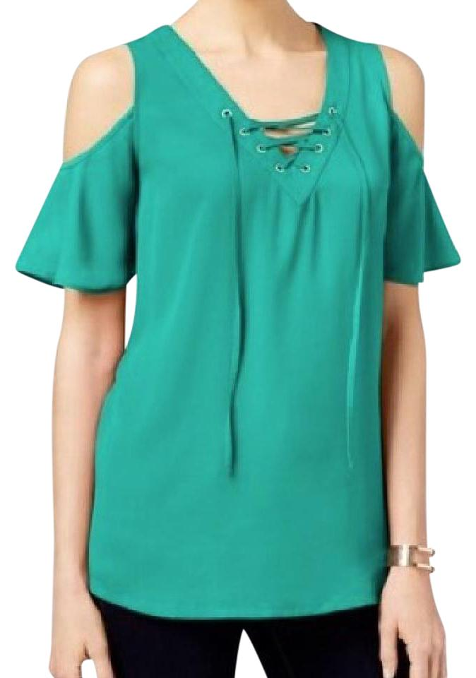 8243cae4d3949b INC International Concepts Teal Green Cold Shoulder Blouse. Size  10 ...