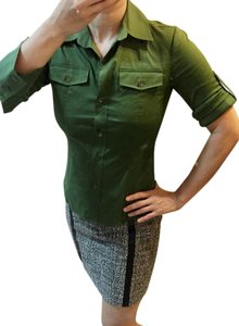 Theory Pocket Slimming Fitted Stretchy Button Down Shirt Green