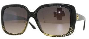 Gucci NEW Gucci GG3574 Sunglasses Black Gold Oversized Sunglasses