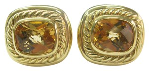 David Yurman David Yurman 18KT Citrine Square Huggie Earrings 17.5mm 5.00CT