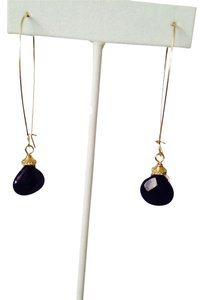 Kenneth Lee Morris Faceted Navy Blue Gemstone Long Dangle Earrings