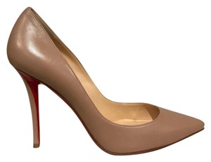 Christian Louboutin Apostrophy Stiletto Leather Classic nude Pumps