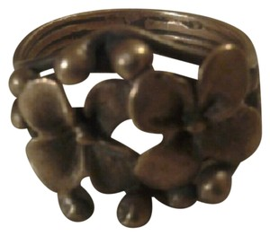 Other Unique Floral Vintage Ring Real Bronze sz 7.5 - 8 Handmade Flowers