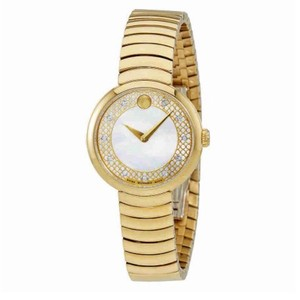 Movado Myla Mother Of Pearl Dial Ladies Gold Tone