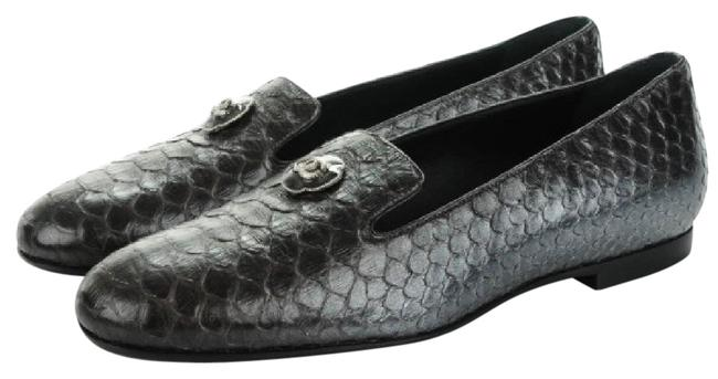 Item - Silver Python Leather Formal Moccasins Eu 38 Flats Size US 7 Regular (M, B)