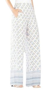 BCBGMAXAZRIA Print Joan Wide Leg Pants White blue yellow