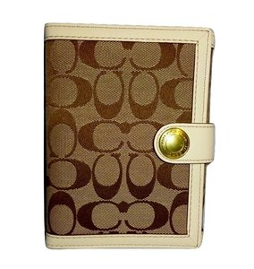 Coach Khaki/White Signature Trifold SLIP JACKET BRAG BOOK Photo Album #60285