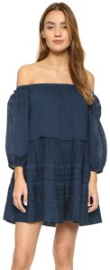 Free People short dress Midnight Blue Boho Bohemian Open Shoulder Peasant Blouse Festival on Tradesy
