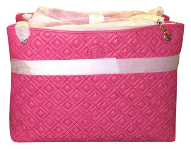 Tory Burch Marion Quilted Center-zip In Dark Peony Tote Tory Burch Marion Quilted Center-zip In Dark Peony Tote Image 1