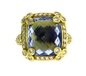 Judith Ripka Judith Ripka large diamond & blue topaz ring in 18K yellow gold
