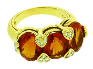 Judith Ripka Judith Ripka diamond & orange citrine ring in 18 karat yellow gold