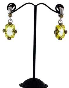 Judith Ripka Judith Ripka diamond & canary crystal earrings in 18K gold and Sterlin