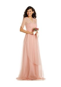 Adrianna Papell Blush Strapless Infinity Tulle Gown Dress