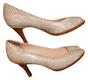 Cole Haan Snakeskin Leather Taupe/Ivory Pumps
