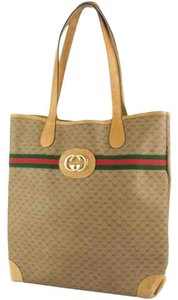 Gucci Great For Everyday Xl Satchel/tote Stripe/gold Mint Vintage Great To Mix/match Tote in light brown coated canvas with dark brown small G logo & leather & red/green striped & gold GG logo accent