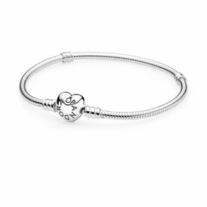 PANDORA Silver bracelet with heart-clasp
