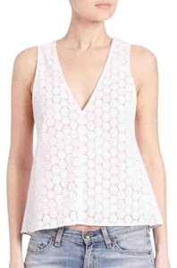 Rag & Bone V-neck Cotton Eyelet Flare Hem Top White