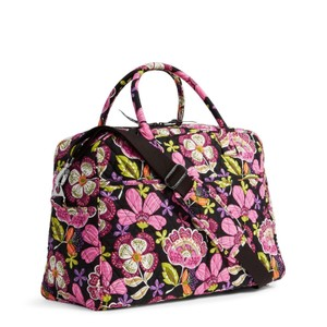Vera Bradley Carryon Weekender Overnight Black Pirouette Pink Travel Bag