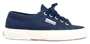 Superga Sneaker Lace Up Round Toe Stitched Canvas Navy Athletic