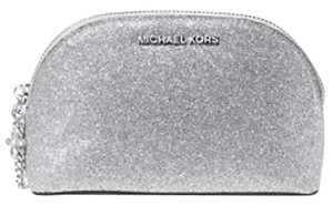 Michael Kors Alex Large Travel Pouch Cosmetic Case Silver