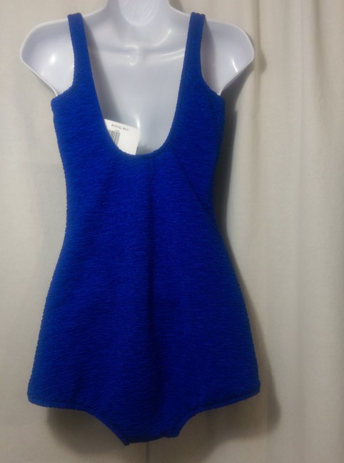 Penbrooke Krinkle Scoop Neck Sheath One Piece Royal Blue Swimsuit Size US 16