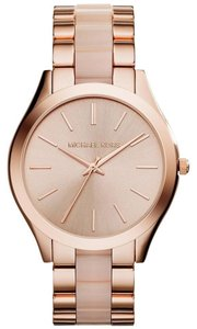 Michael Kors NWT Slim Runway Blush Acetate and Rose Gold-Tone Watch MK4294