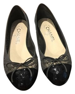 Chanel Gray Lace and Navy Patent Flats