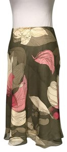 Ellen Tracy Silk Knee Length Patterned Skirt multicolor