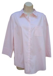 Lafayette 148 New York Button 3/4 Sleeve Spring Stretch Cotton Button Down Shirt Pink White