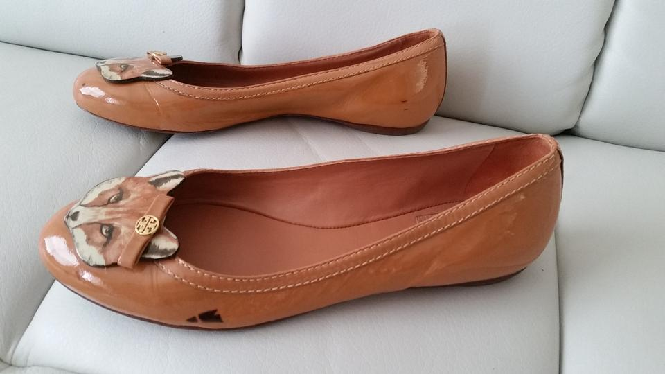 844dfc50a4e Tory Burch Fox Ballet Leather Patent Leather Chestnut Flats Image 3. 1234