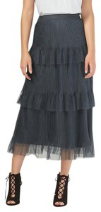 LC Lauren Conrad Pleated Tiered Tulle Textured Skirt Grey