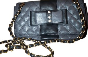 Oasis Bow Woven Chain Faux Leather Black Stripe Cross Body Bag