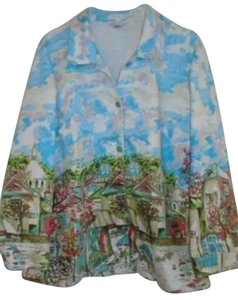 CJ Banks Parisian Feel Spring Summer Plus Size 2x Water Colors Pink Blue Ivory Multi-color Jacket