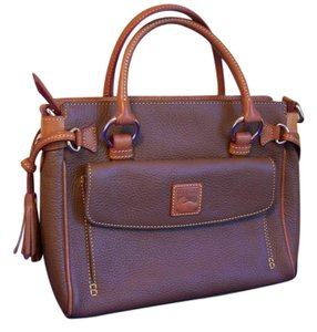Dooney & Bourke Front Pocket Pebble Leather Satchel in Brown