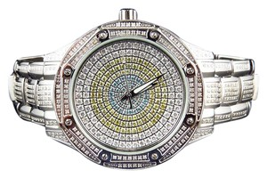 Techno Com by KC Colored Stones Dial Stainless Steel Diamond Dress Watch 5.0 ct.