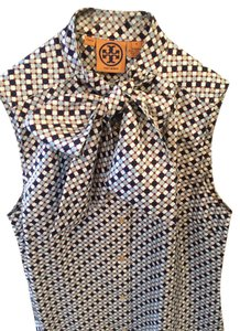 Tory Burch Chic Classic Spring Tie-front Top navy, cream, white patterned