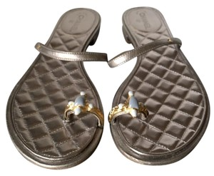 Chanel Pewter Leather Jeweled Cc Silver Sandals