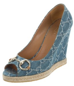 Gucci Gg Horsebit Silver Hardware Espadrille Blue, White Pumps