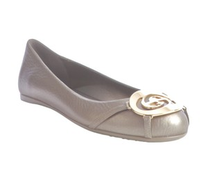 Gucci Ballet Gold Taupe Leather Gold/Tan/Taupe Flats