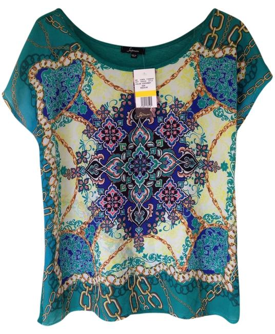 Preload https://item1.tradesy.com/images/soprano-green-purple-coral-blue-yellow-airy-versace-t-shirt-2104100-0-0.jpg?width=400&height=650