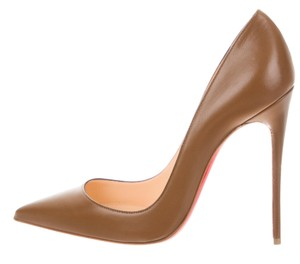Christian Louboutin Red Sole Pointed Toe Leather So Kate Pigalle Brown, Beige Pumps
