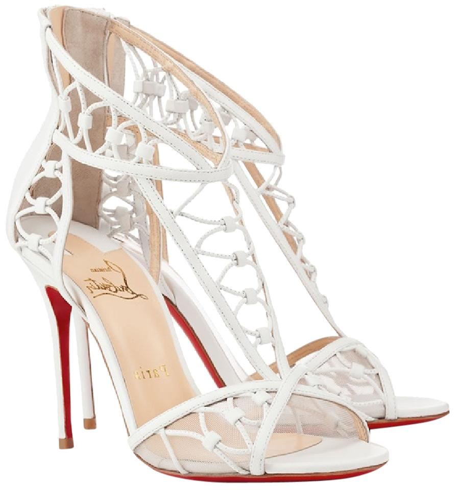 online store d1ecf 76099 Christian Louboutin White Leather Martha T-strap Sandals Size US 6.5  Regular (M, B)