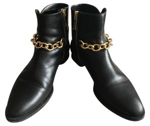 Burberry Moto Chain Ankle Black Boots