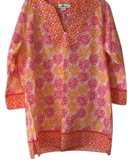 Item - Pink and Orange Summer Mid-length Short Casual Dress Size 12 (L)