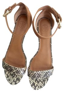 Tory Burch Skin Low Wedge Neutral Yet Chic Transitional Python Sandals