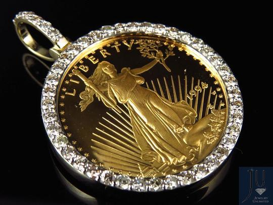 Other 24K Y Gold Coin Lady Liberty Half Ounce Diamond Pendant Charm 2.0ct